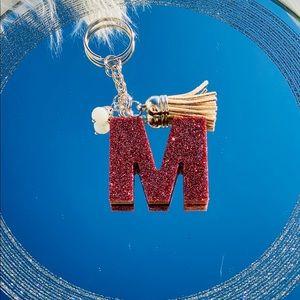 Rose gold letter M keychain